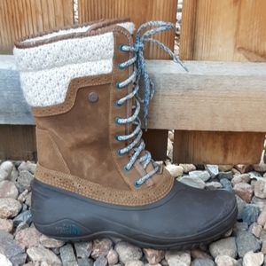The north face winter waterproof snow boots brown